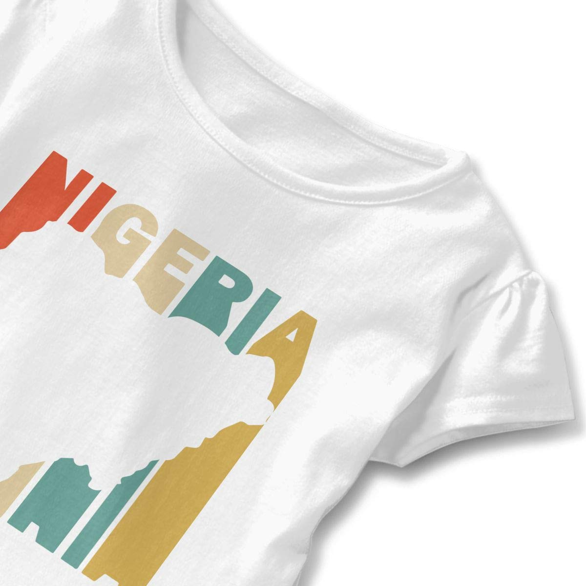 Little Girls Retro Style Nigeria Silhouette Funny Short Sleeve Cotton T Shirts Basic Tops Tee Clothes