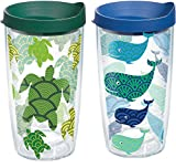 Tervis 1224739 Turtle and Whale Pattern Tumbler with Wrap and Assorted Lid 2 Pack 16oz