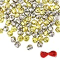 Outuxed 100Pcs 1 Inch Jingle Bells Christmas Craft Bells for Festival Decoration with 20m Red Cord, Gold and Sliver
