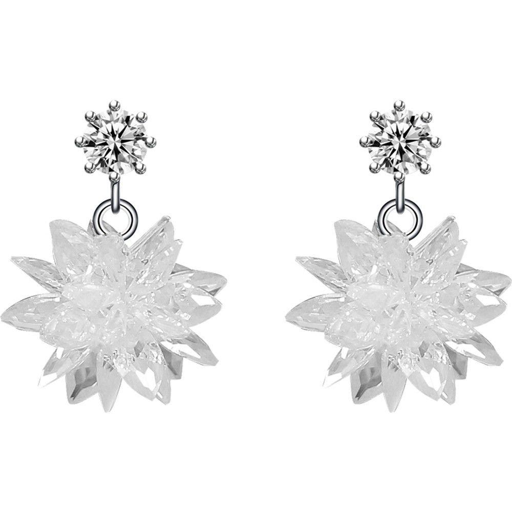 Ling Studs Earrings Hypoallergenic Cartilage Ear Piercing Simple Fashion Earrings Ear Jewelry 925 Sterling Silver Crystal Ice Earrings Snowflake Long Asymmetrical Earrings, Short