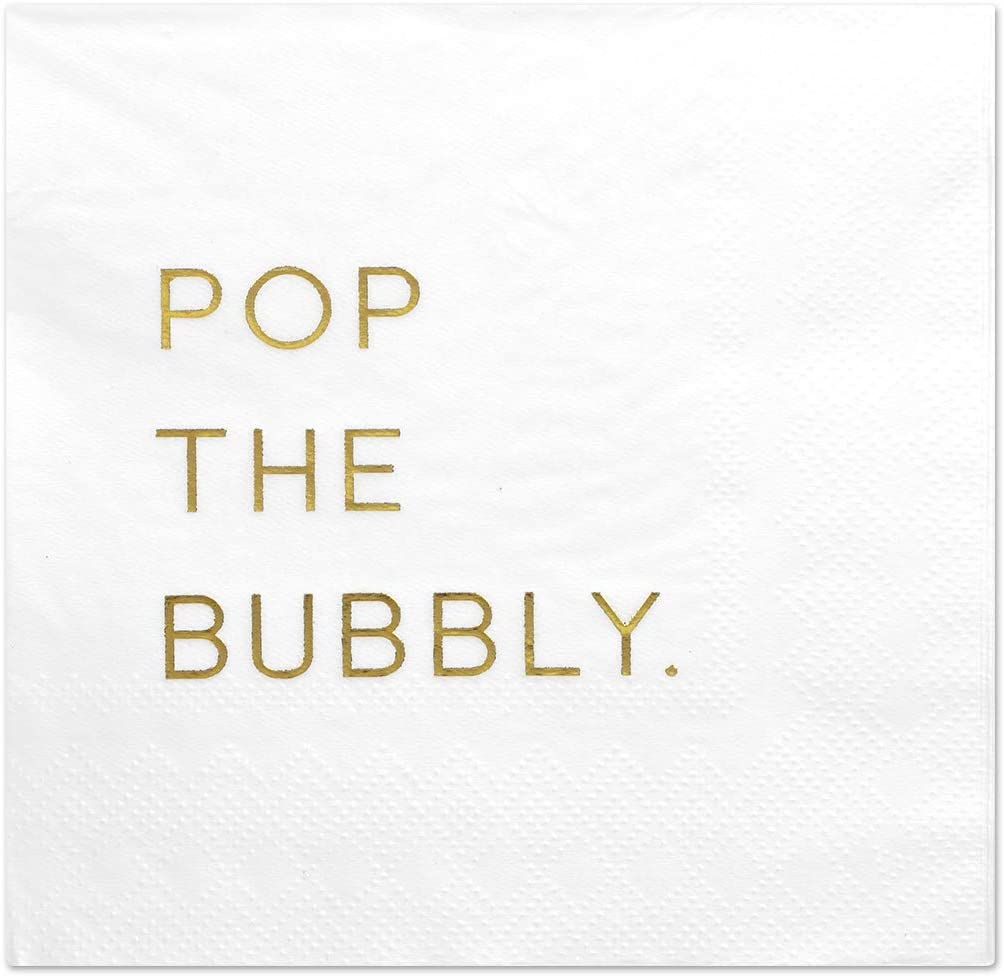 Andaz Press Pop The Bubbly, Funny Quotes Cocktail Napkins, Gold Foil, Bulk 50-Pack Count 3-Ply Disposable Fun Beverage Napkins for Birthday Party, Holiday, Thanksgiving, Christmas, New Year's Eve Bar