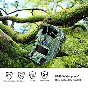 "AIMTOM T905 Hunting Trail Camera, 2.4"" Screen 16MP 1080P Stealthy Wildlife Game CAM 2Pcs 98Ft No Glow Super Power IR LEDs 130 Degree Wide Angle Lens 82Ft Night Vision 0.2S Fast Trigger Waterproof"