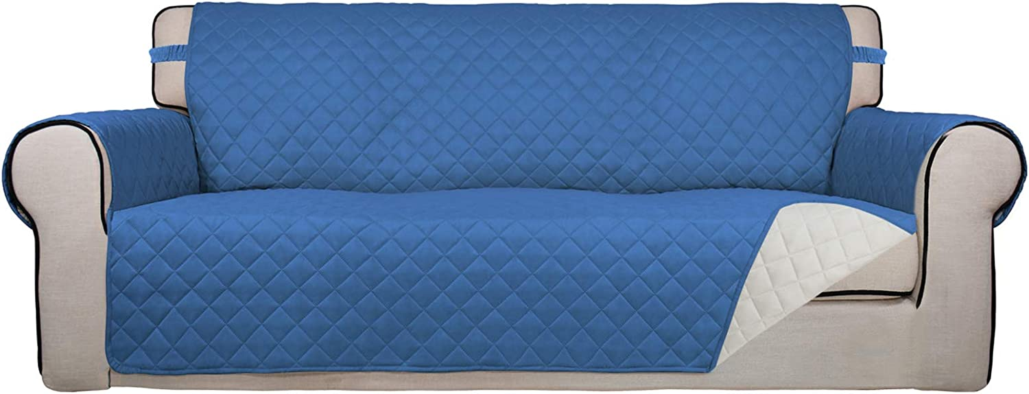 PureFit Reversible Quilted Sofa Cover, Water Resistant Slipcover Furniture Protector, Washable Couch Cover with Non Slip Foam and Elastic Straps for Kids, Dogs, Pets (Sofa, Blue/Ivory)