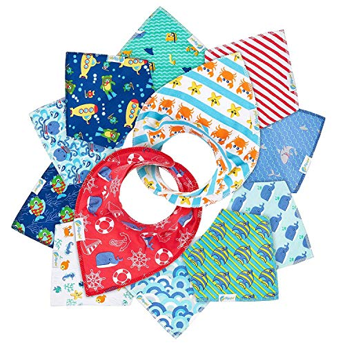 - 12-Pack Baby Bandana Drool Bibs for Drooling Feeding and Teething, Super Absorbent Pure 100% Organic Cotton and Hypoallergenic Bibs for Baby Boys, Infant and Toddler Shower Gift Set (Ocean Set)