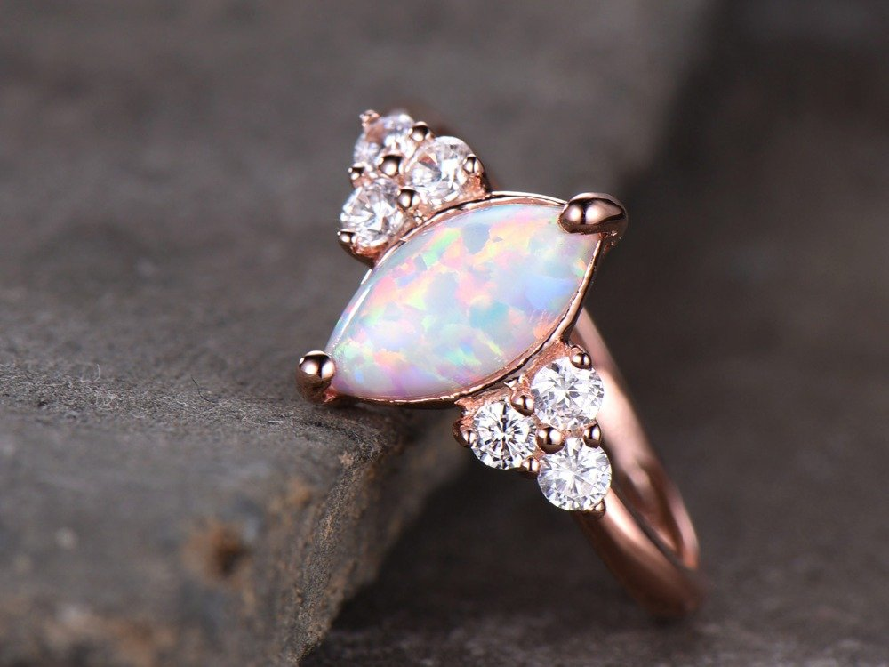 Opal Engagement Ring 925 Sterling Silver Rose Gold Plated CZ Cluster Antique Anniversary Gift Promise by Milejewel Opal Engagement Ring (Image #4)