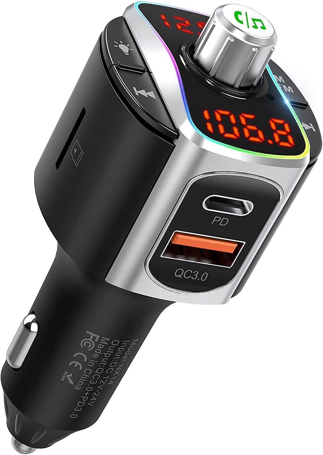 Nulaxy Transmisor FM Bluetooth 5.0, Adaptador de Radio para Coche con 3 Puertos USB (PD18W&QC3.0), Kit Manos Libres para Coche, Reproductor de Música, Retroiluminación LED Colorida - NX14