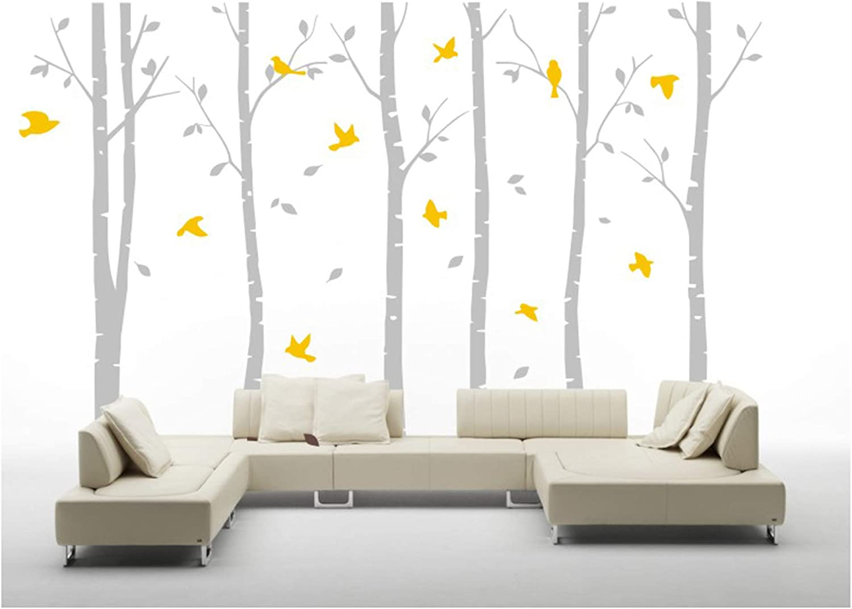 BDECOLL 6 Grandes árboles de Abedul con pájaros Vinilo de Pared Mural de Adhesivo para decoración de habitación,71