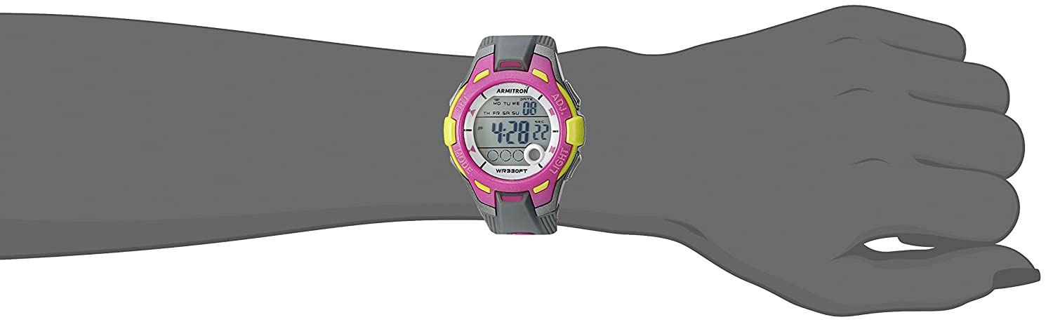 Armitron Sport Women s 45 7030GYPK Light Green Accented Digital Grey and Pink Resin Strap Watch