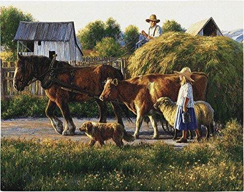 (Pure Country Weavers Passing Parade by Robert Duncan | Woven Tapestry Wall Art Hanging | Farm Animals with Family Hay Wagon | 100% Cotton USA Size 34x26)