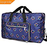 Fordicher Women Nylon Foldable Large Travel Duffel Bag Travel Tote Luggage Bag for Vacation (Blue)