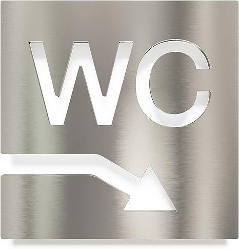 selbstklebend Toilettenschild INOXSIGN W.04.E Edelstahl WC-Schild rechts