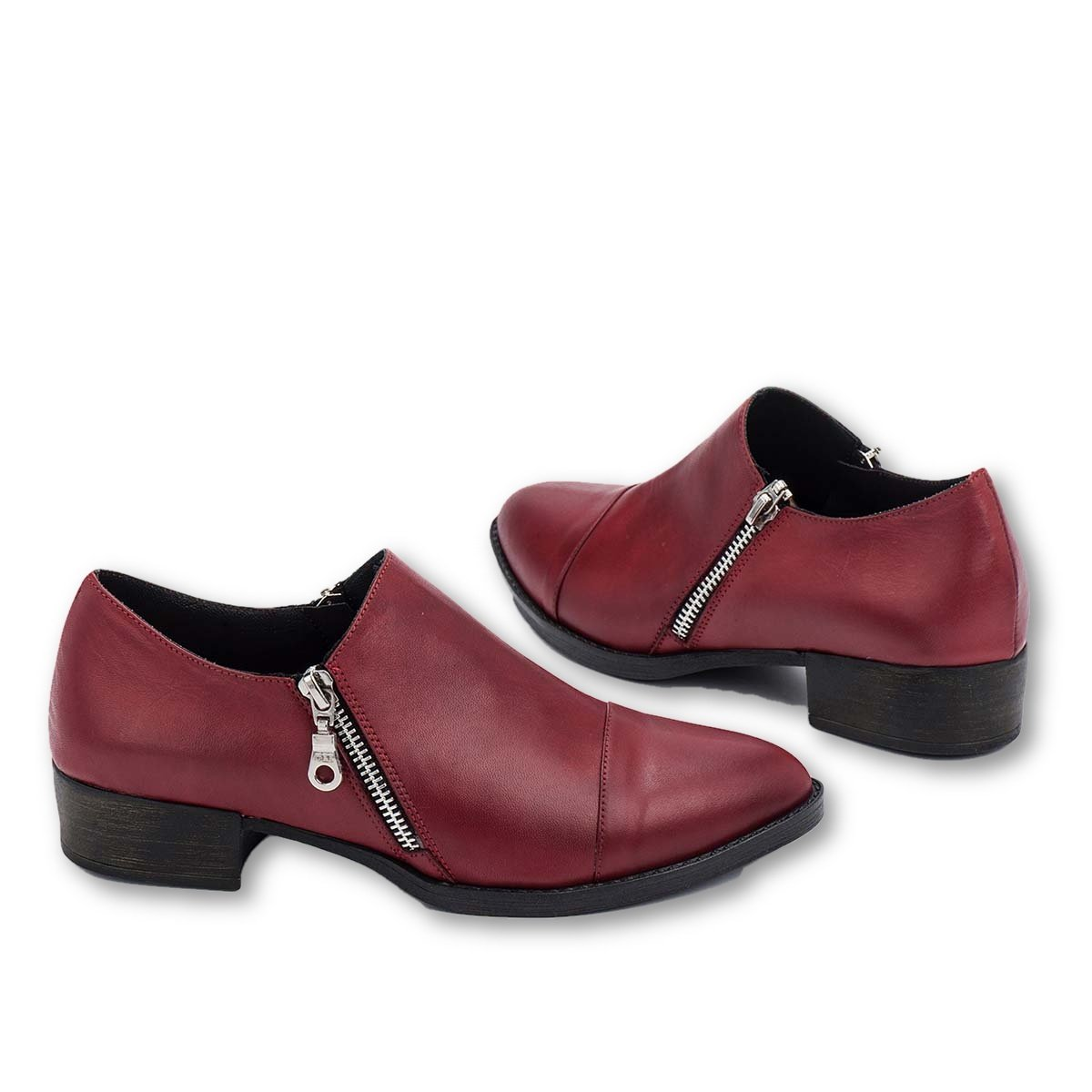 B-Unique Leather Loafers for Women Slip On Penny Loafer Pumps with Stacked Block Heel with YKK Zippers
