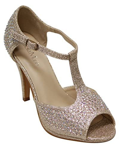 700fa90bd Bella Marie Shania-11 Women's peep Toe Rhinestone Glitter T- Strap Dance  Sandals Gold