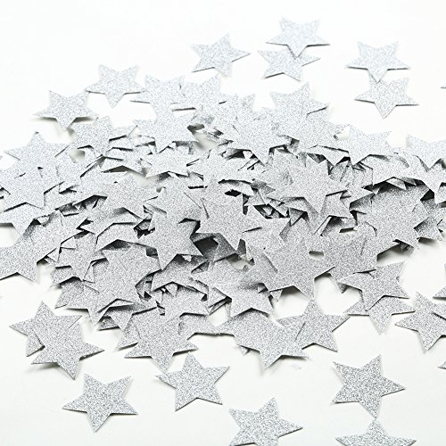 MOWO Glitter Star Paper Confetti Wedding Party Decor and Table Decor 1.2'' in Diameter (silver glitter,200pc)