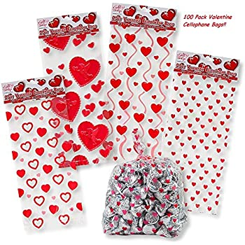 Valentine Cellophane Bags 100 Pack With Twist Ties Valentines Favor Treat  Gift Goodie Cello Bags For