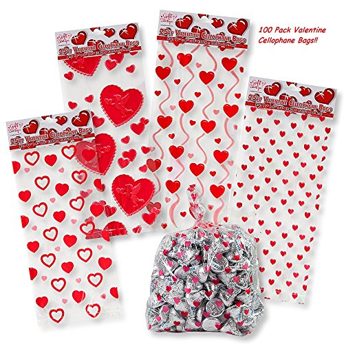 Valentine Cellophane Bags 100 Pack with Twist Ties Valentines Favor Treat Gift Goodie Cello Bags for Party Candy Cookies , 4 Assorted Styles