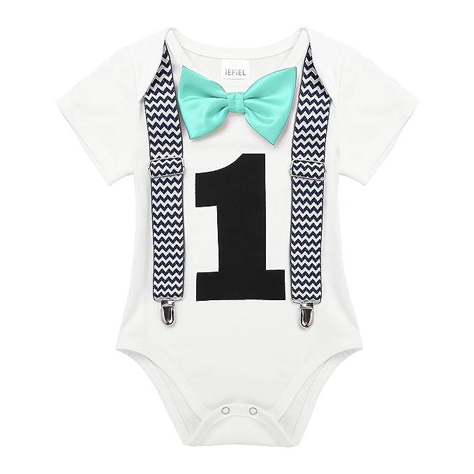 e98f7f94b406 Amazon.com  FEESHOW Baby Boys 1st Birthday Outfit Short Sleeve ...