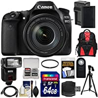 Canon EOS 80D Wi-Fi Digital SLR Camera & EF-S 18-135mm IS USM Lens with 64GB Card + Battery & Charger + Backpack + Filter + Tripod + Flash + Kit