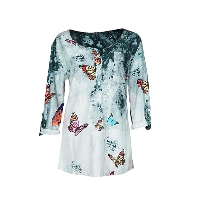 Blusa camiseta tops para mujer Otoño,Sonnena Mujer Blusa manga larga con estampado floral y botonadura talla grande casual traje de urbano estilo fiesta ...