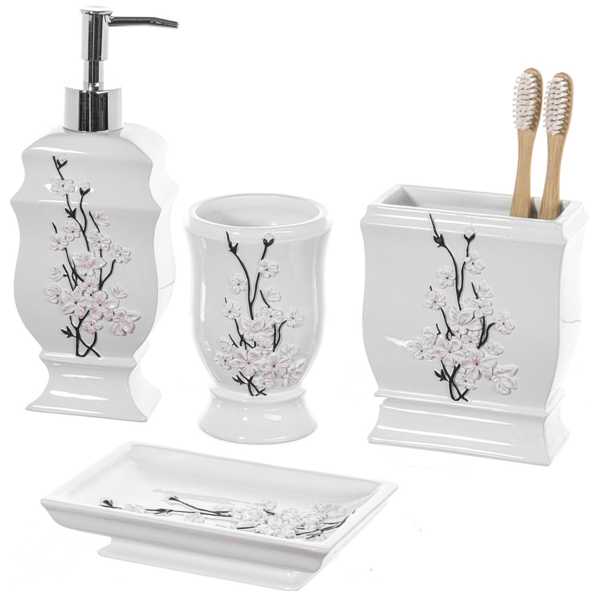 Creative Scents 4 Piece Bathroom Accessory Set - Gift Package - Soap Dish and Dispenser, Toothbrush Holder, and Tumbler Cup - Vanda Floral Style - by SVA-44317