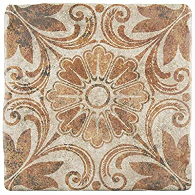 """SomerTile FEB8CAD6 Cana Arena Ceramic Floor and Wall Tile, 7.75"""" x 7.75"""", Beige/Brown/Green"""