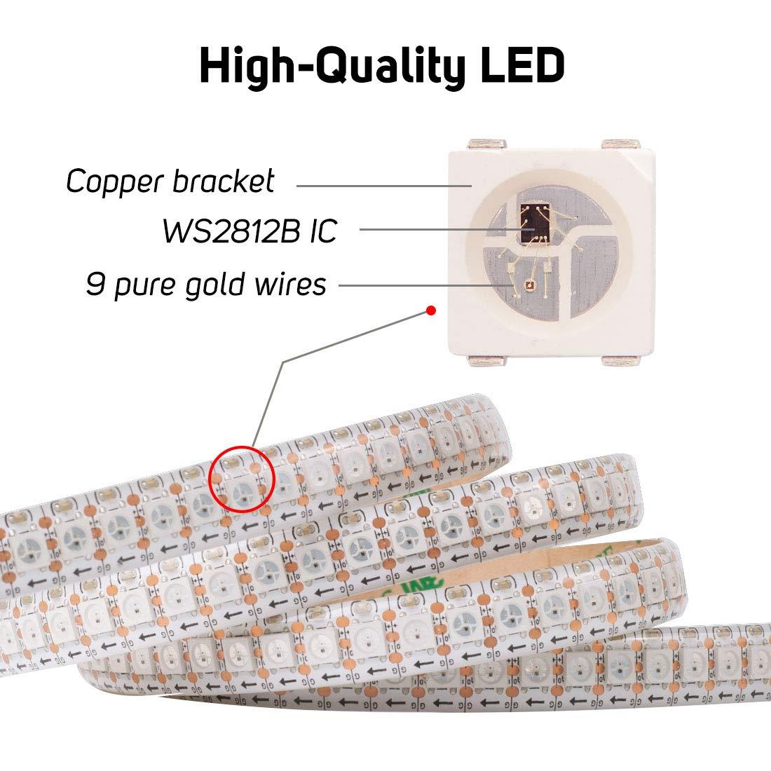 BTF-LIGHTING WS2812B 5m 30leds//pixels//m flexible individuellement adressable bande couleur r/êve IP67 Silicone tube /étanche DC5V PCB noir