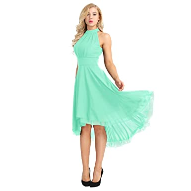 Iefiel Women S Halter Knee Length Bridesmaid Dress Western Wedding Guest Dress