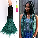 Senegalese Twist Crochet Hair Two Tone Kanekalon Braiding Hair Belleshow Synthetic Hair Extensions Crochet Braids Senegalese Box Braids (3 pcs 24 inch, 1b/dark green)