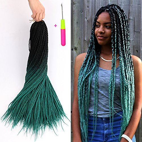 Senegalese Twist Crochet Hair Two Tone Kanekalon Braiding Hair Belleshow Synthetic Hair Extensions Crochet Braids Senegalese Box Braids (3 pcs 24 inch, 1b/dark green) by Belleshow
