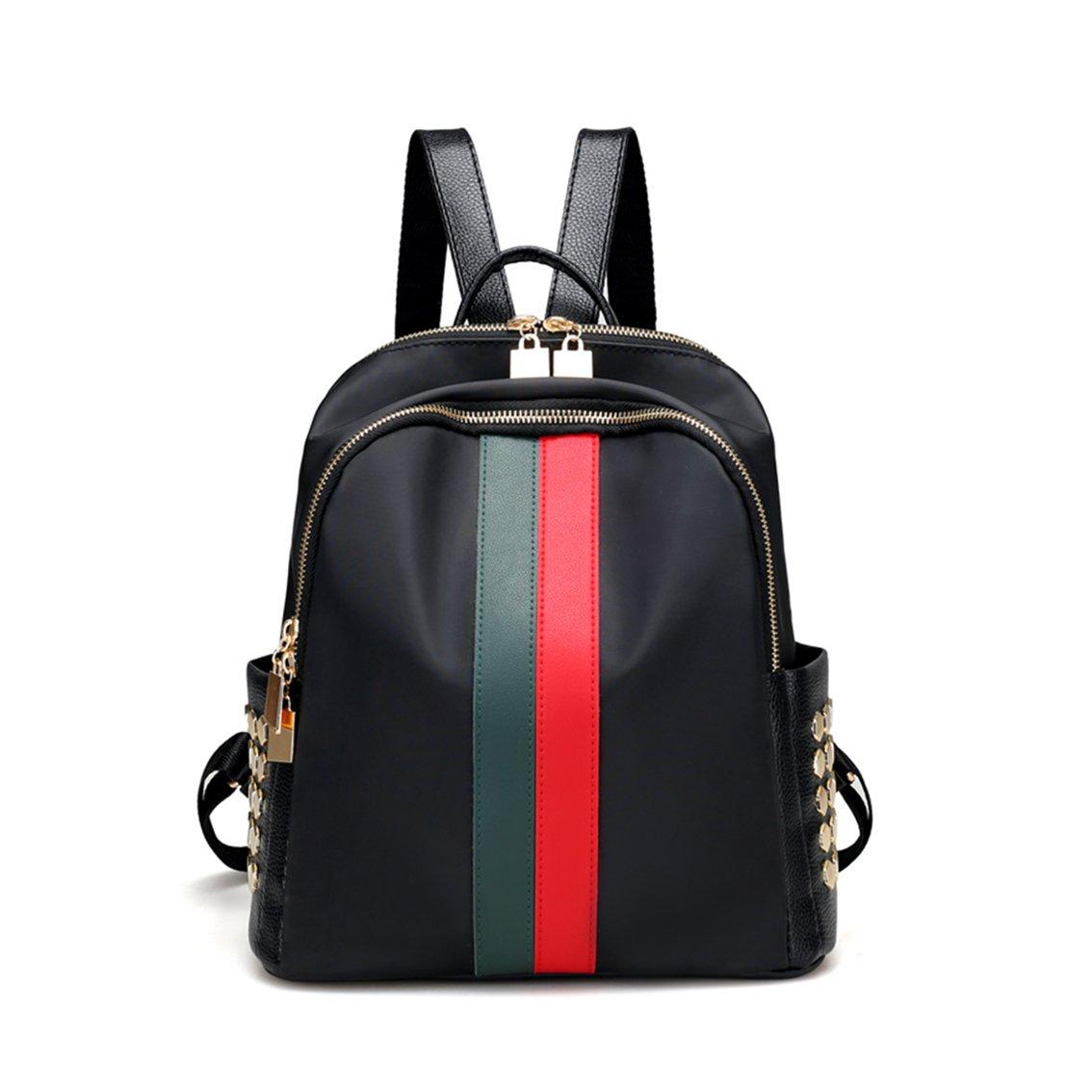 Leparvi Fashion Oxford Luxury Designer Small Women Backpack Bag Ladies Teenager Tote Handbag Purse (Red-green)