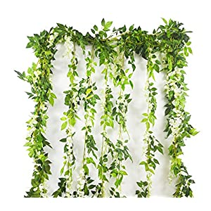 Artificial Plants Flowers 5pcs-31.2ft Fake Flower Wisteria Ivy Vine Faux Plastic Silk Green Leaves Hanging Flowers Vine Garland for Wedding Home Kitchen Office Wall Outdoor Outside Party Decor 50