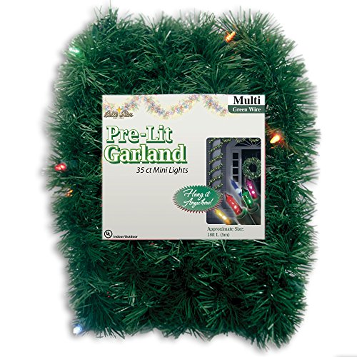Brite Star 12-Feet Direct Plug in Lighted Pine Garland with 35 Count Multi-Colored Mini (Lighted Garland)