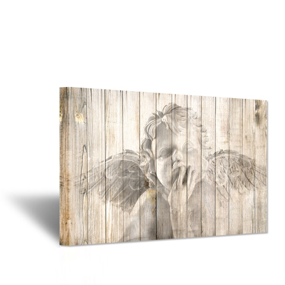 Hello Artwork Religion Wall ArtChristian Newborn Cute Angel Baby With Wings On Yellow Wood Background Vintage Style Picture Print On Canvas For Living Baby Room Wall Decoration 24x36inch