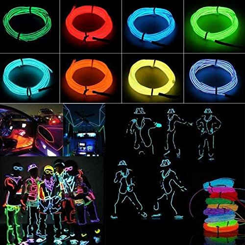 [5M 10 colors 3V Flexible Neon EL Wire Light Dance Party Decor Light ( Yellow )] (Saw Makeup And Costume)