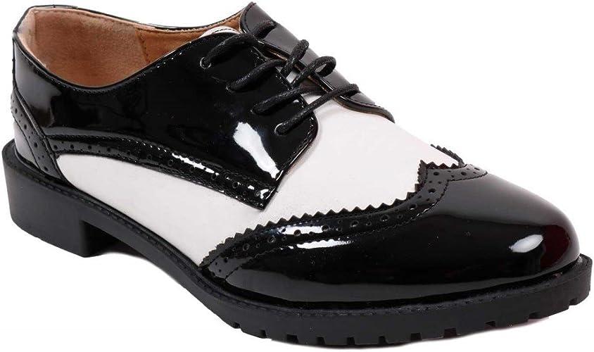 Derbies en cuir Femme noir et couture blanche | Jonak