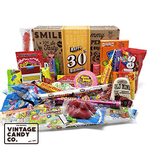 VINTAGE CANDY CO. 30TH BIRTHDAY RETRO CANDY GIFT BOX - 1989 Decade Childhood Nostalgic Candies - Fun Funny Gag Gift Basket - Milestone 30 THIRTIETH Birthday - PERFECT For Man Or Woman Turning THIRTY (Cool Gifts For 30 Year Old Male)