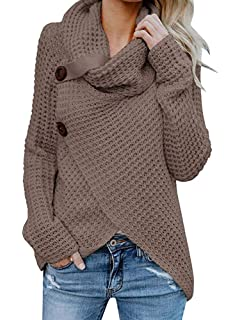 cf5be0eadf Inorin Womens Sweaters Casual Cowl Neck Chunky Cable Knit Wrap Pullover  Sweater