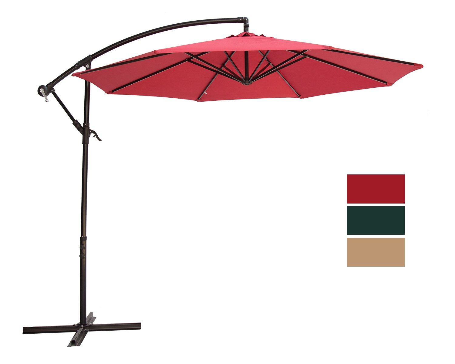 SUNNYARD 10 Ft Cantilever Patio Umbrella Outdoor Offset Hanging Umbrella, 8 Ribs, Red -  - shades-parasols, patio-furniture, patio - 61DOD4iB8qL -