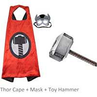 Fancydresswale Avenger Thor Cape with Mask and Hammer (Thanos Hand + Hammer + Cape & Mask)