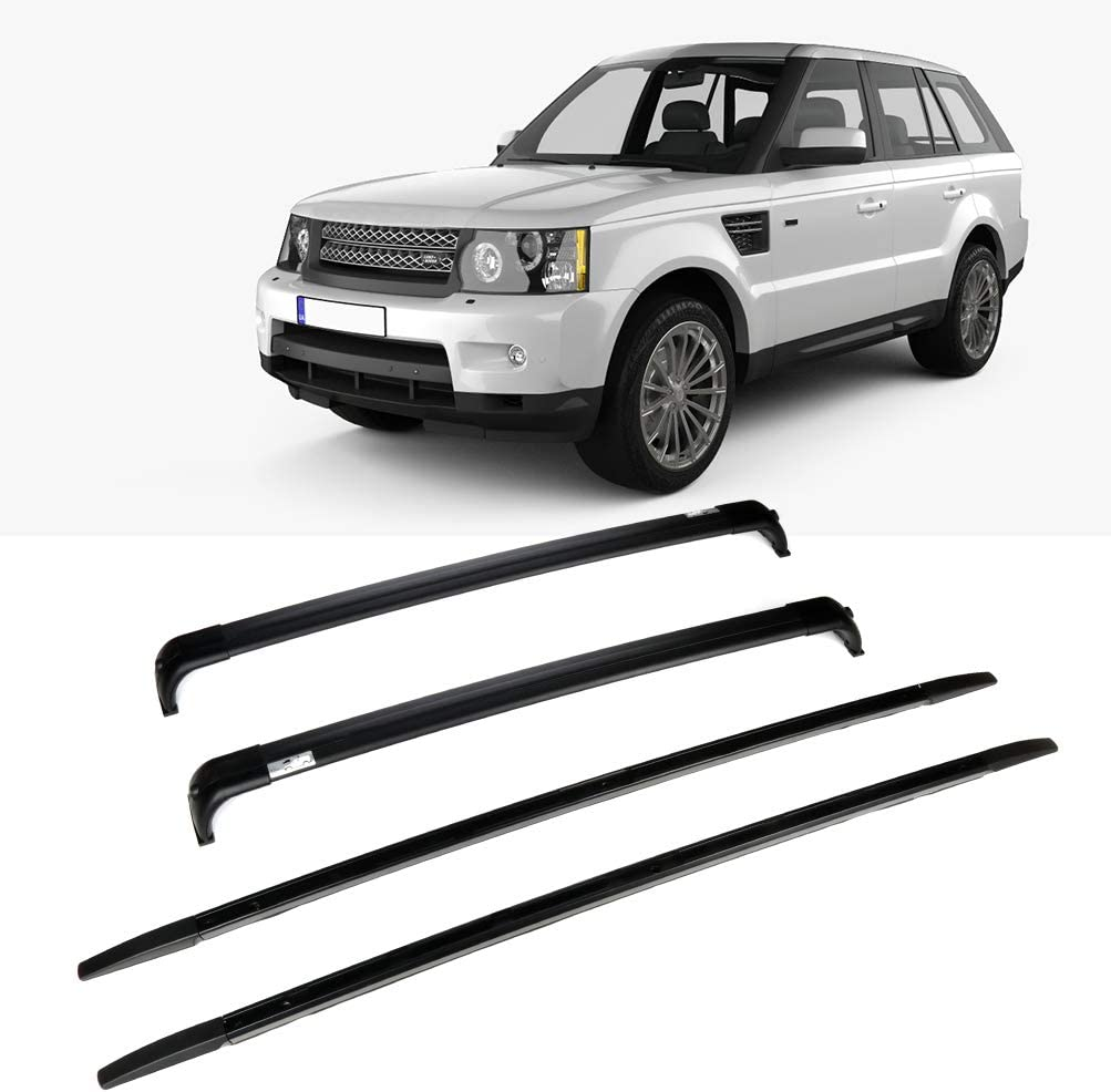 LUJUNTEC Aluminum Roof Mounted Roof Rack Cross Bar Set Fit for Land Rover Range Rover 2002 2003 2004 2005 2006 2007 2008 2009 2010 2011 2012 Top Rail Carries Luggage Carrier w/Side Rails