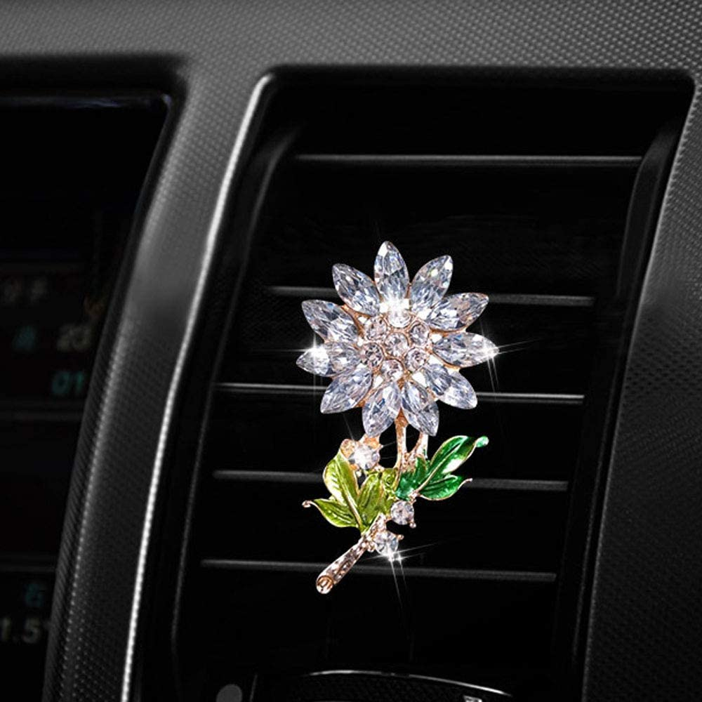 Senauto Car Air Conditioning Vent Decoration Clip Bling Crystal Flower Decor Car Outlet Diffuser Silver