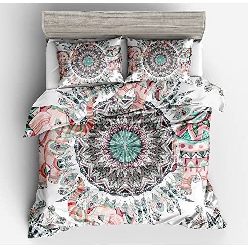Discount KTLRR Hippie Multi Color Feathers Duvet Cover Set,Colorful Elephant Bedroom Decoration Bedclothes - Soft Microfiber 3-Piece Bohemian Style Bedding Set with Pillow Shams (Multicolor, Queen 3pcs) supplier