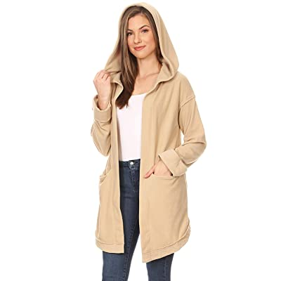 ANNA-KACI Womens Coat Lightweight Casual Long Sleeve Sweater Hoodie Cardigan Jacket, Taupe, Large at Women's Clothing store