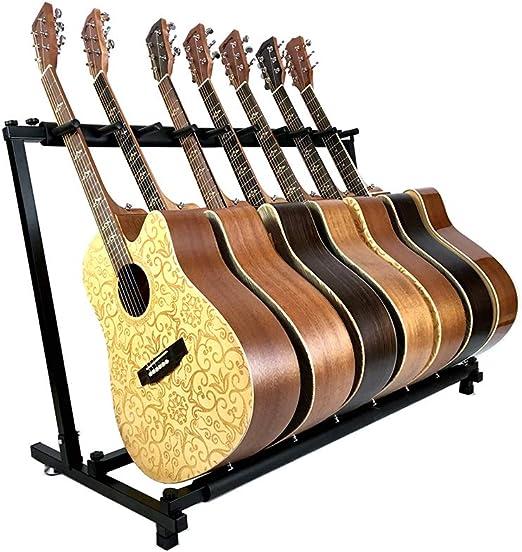 YUSDP Soporte de Guitarra múltiple -7 Soporte, DISEÑO Plegable portátil - con Acolchado de Goma Antideslizante- para Guitarra acústica clásica, eléctrica, bajo y Estuche/Estuche para Guitarra: Amazon.es: Hogar