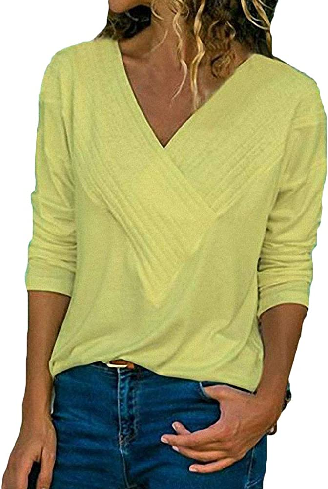 S.Charma Womens Casual Long Sleeve Tops V Neck Solid Color Patchwork T-Shirt Blouse