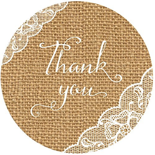 90 Thank You Burlap and Lace Stickers, 1.5 Inch, Gloss and Quality Labels