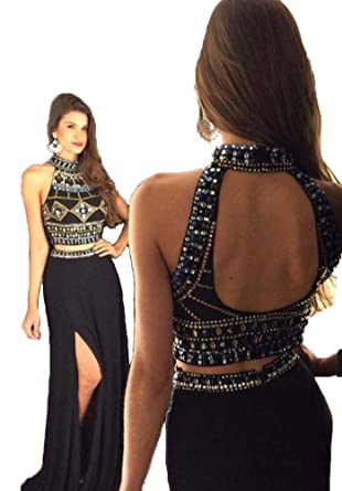 a97f983f3ecab Yushan女性用ホルターネックビーズ飾りイブニングドレススリット入り2ピースPromガウンロング US