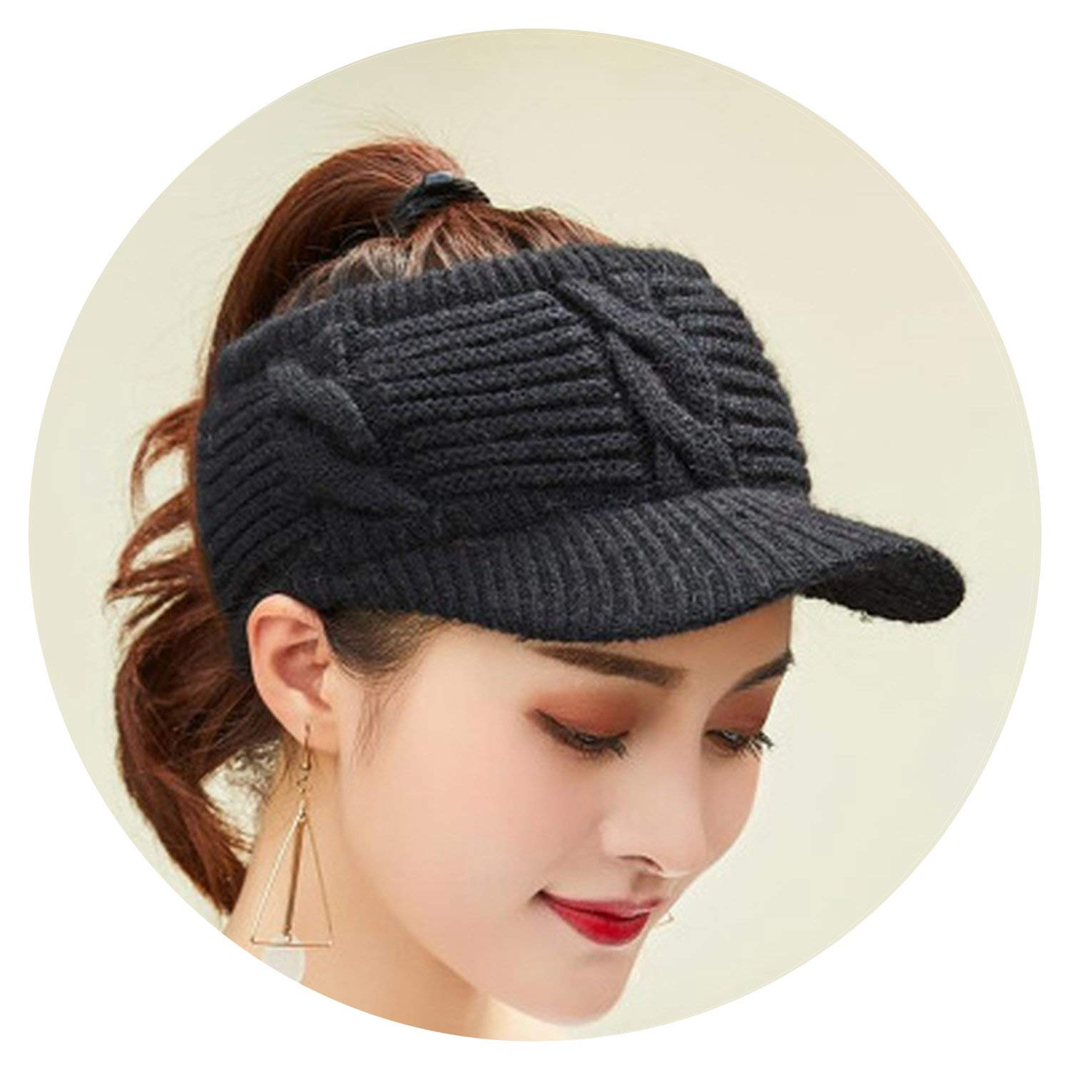 Adult Wool Knitted Horsetail Caps Winter Empty Top Hats for Women and Girl Skullies