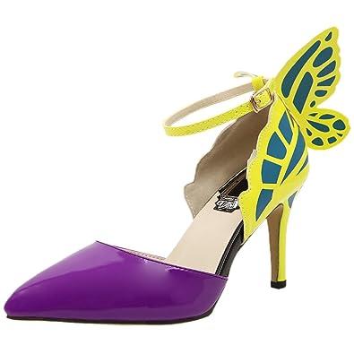 HooH Damen Pumps Spitz Zehe D'orsay Schmetterling Ankle Strap High Heels Gelb 38 EU QiXXhkqKi
