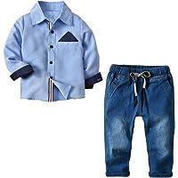 [Bekleidungsset Junge Kinder] Hemd + Jeanshose Baumwolle Kleinkinder Set Gentleman Baby Anzug Freizeit und Festlich